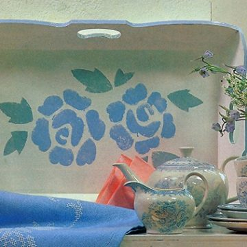 Easy 7 Steps Rose Stenciled Tray